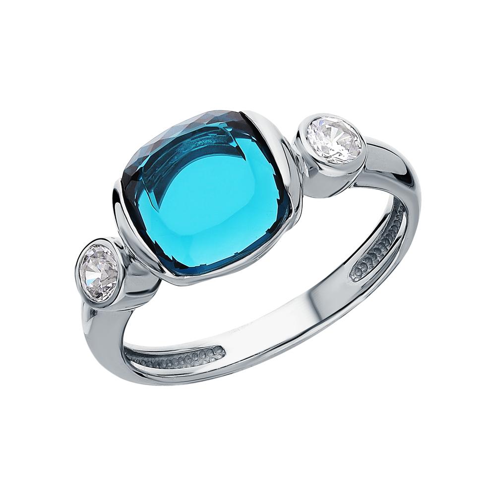 Фото «Серебряное кольцо с топазами, фианитами и ювелирными стёклами»