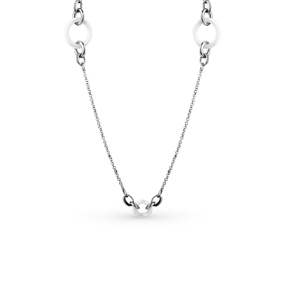 Фото «шейное украшение из серебра и керамики с фианитами»