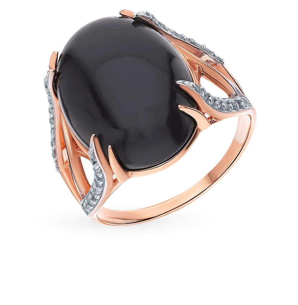 Фото «Золотое кольцо с ониксом и фианитами»