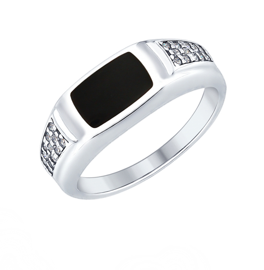серебряное кольцо с фианитами и эмалью SOKOLOV 94012410