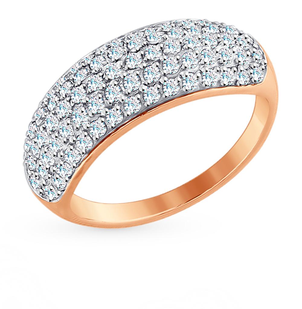 золотое кольцо с фианитами SOKOLOV 017610