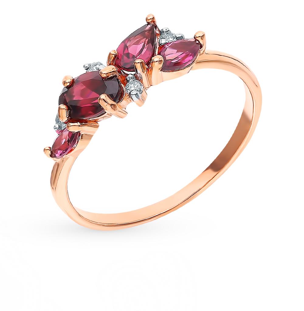 Золотое кольцо с родолитами и фианитами в Екатеринбурге