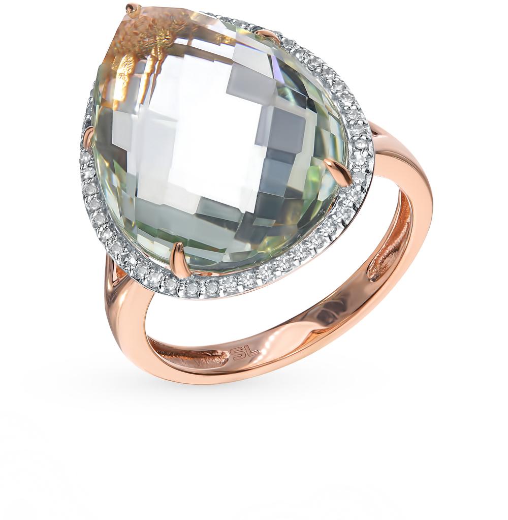 Фото «Золотое кольцо с аметистом, аметистами зелёными и бриллиантами»