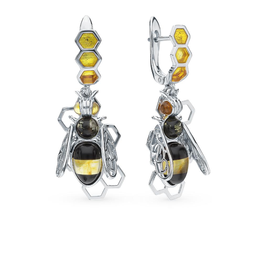 серебряные серьги с янтарем и эмалью
