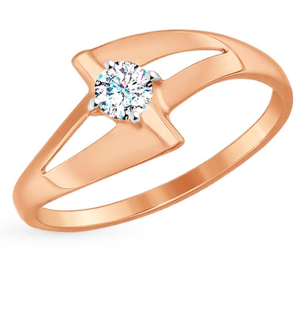 золотое кольцо с фианитами SOKOLOV 017197*