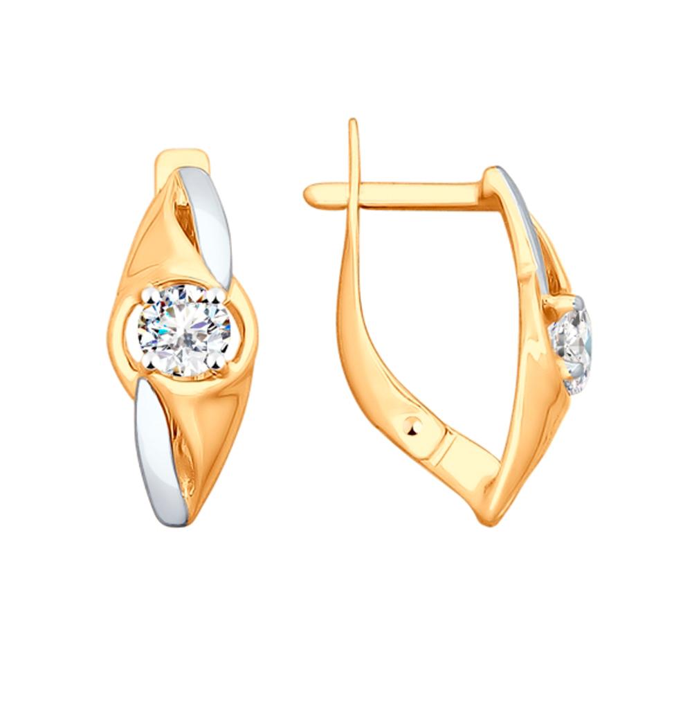 золотые серьги с фианитами SOKOLOV 028041