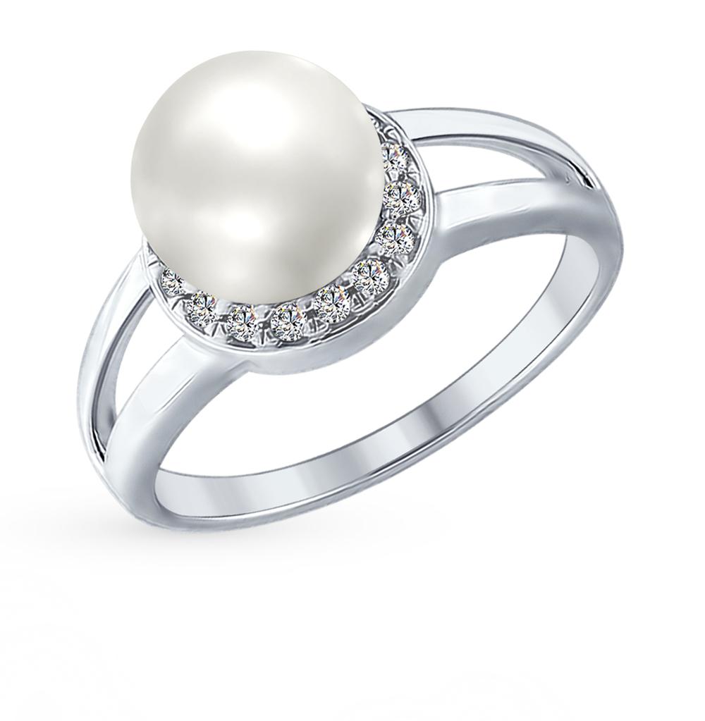 серебряное кольцо с фианитами и жемчугом SOKOLOV 94012353