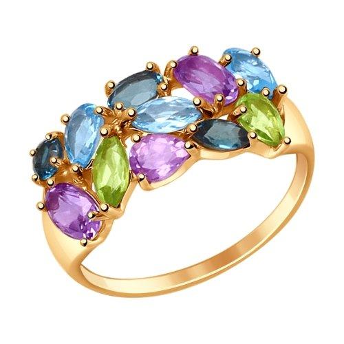 Фото «Золотое кольцо с хризолитом, аметистом и топазами SOKOLOV 714682*»