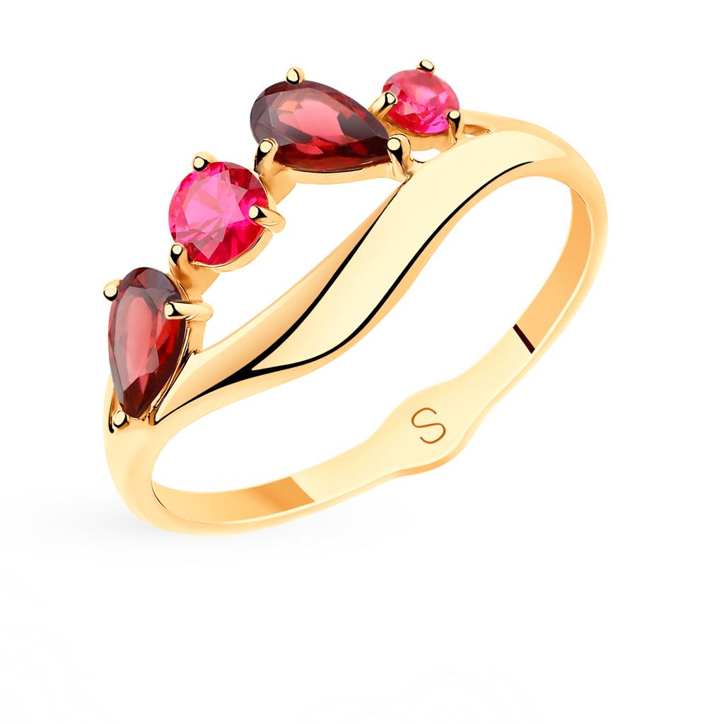 Фото «Золотое кольцо с родолитами и корундом SOKOLOV 715545*»