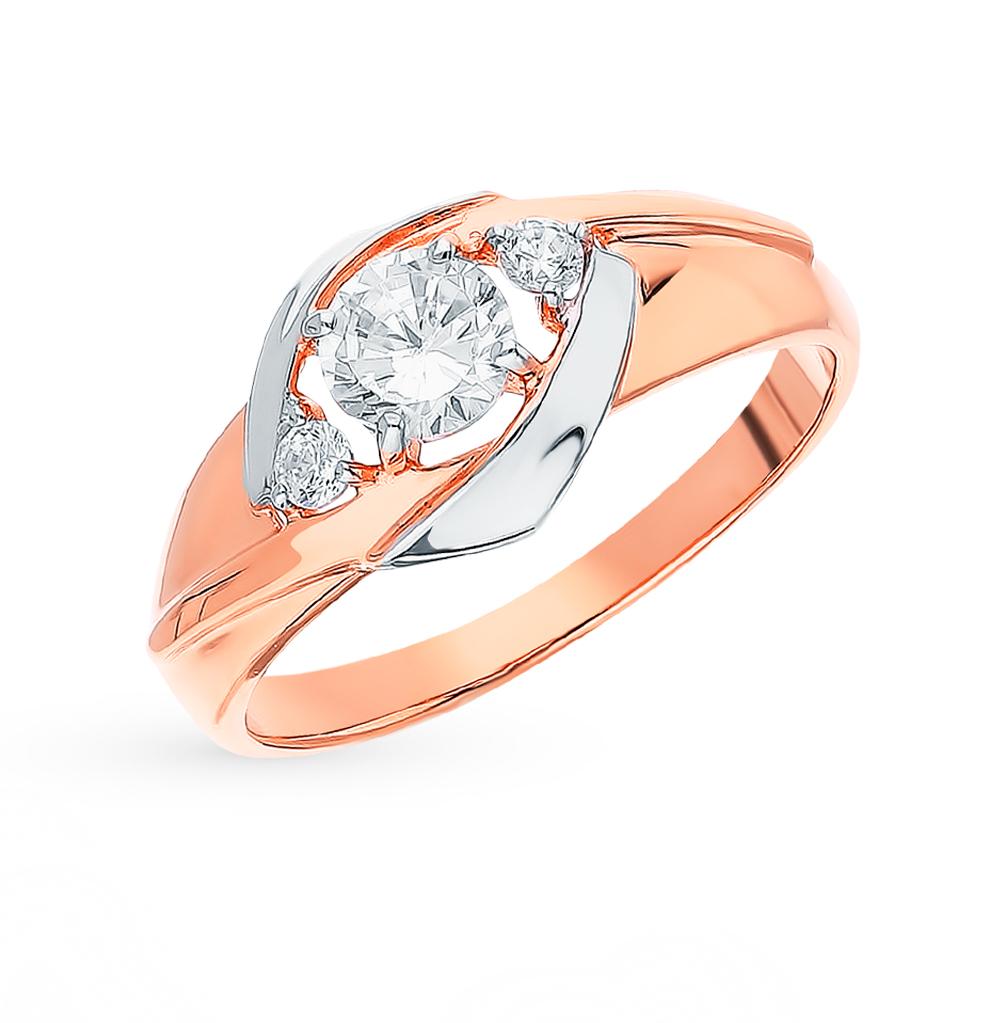золотое кольцо с фианитами SOKOLOV 018344*
