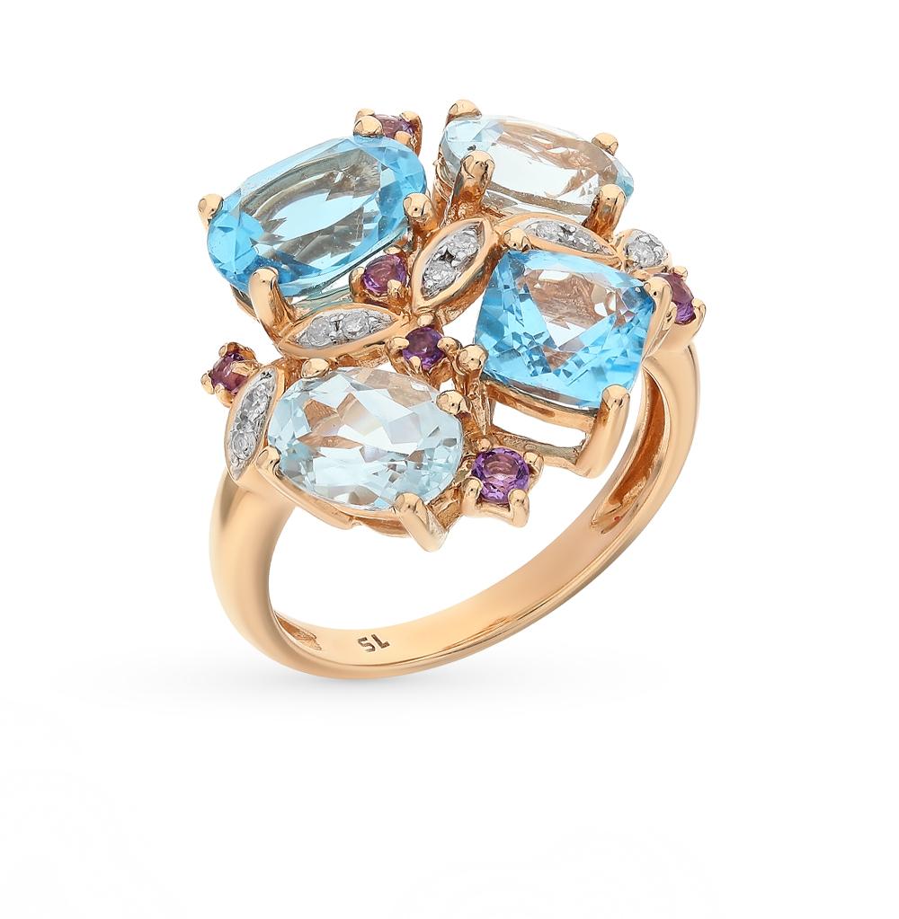 золотое кольцо с аметистом, топазами и бриллиантами