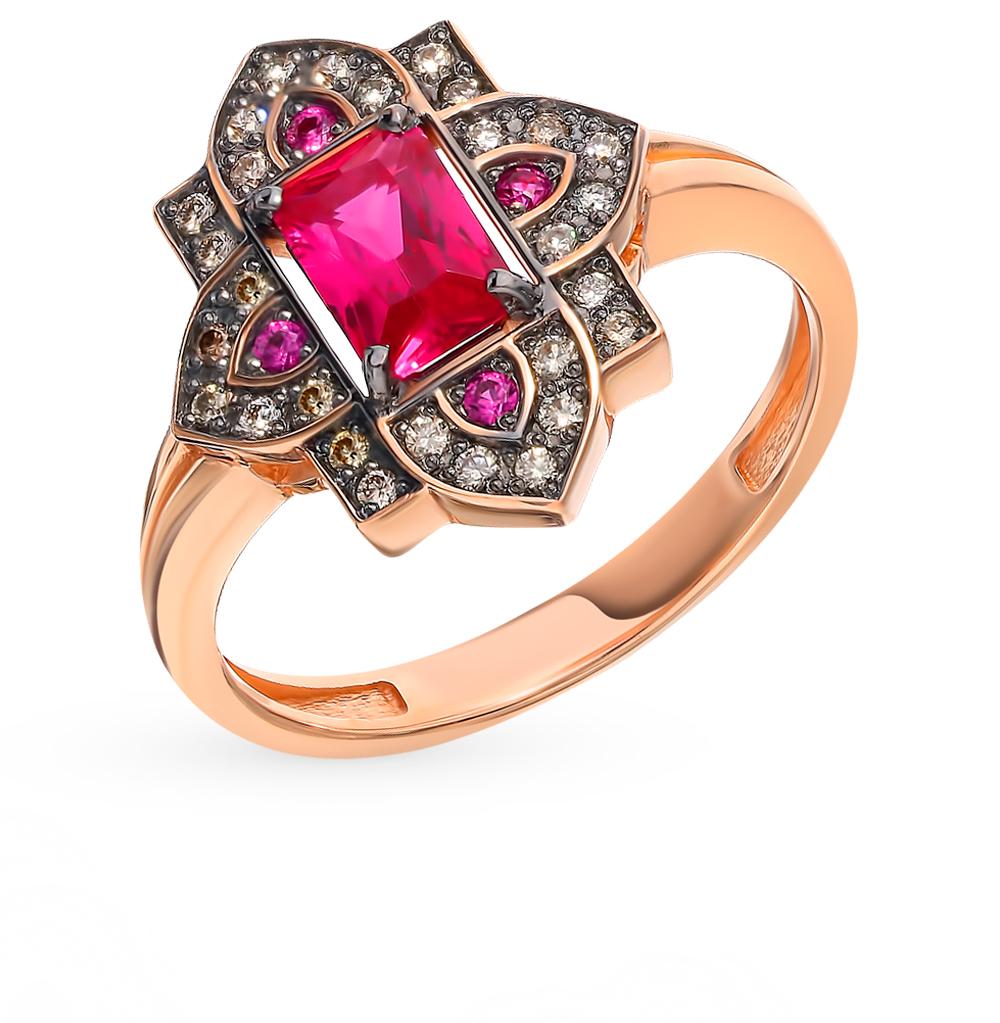 золотое кольцо с коньячными бриллиантами и рубинами