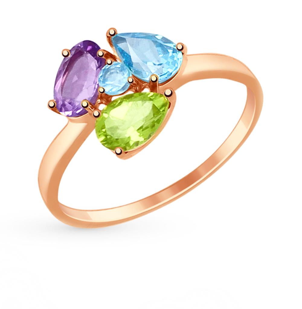 золотое кольцо с хризолитом, аметистом и топазами SOKOLOV 714818*