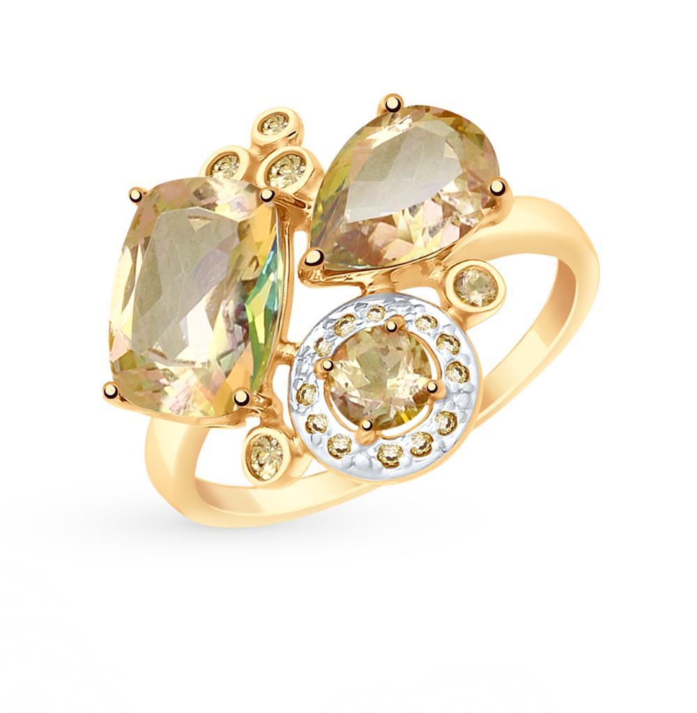 Золотое кольцо с топазами и фианитами SOKOLOV 715020* в Санкт-Петербурге