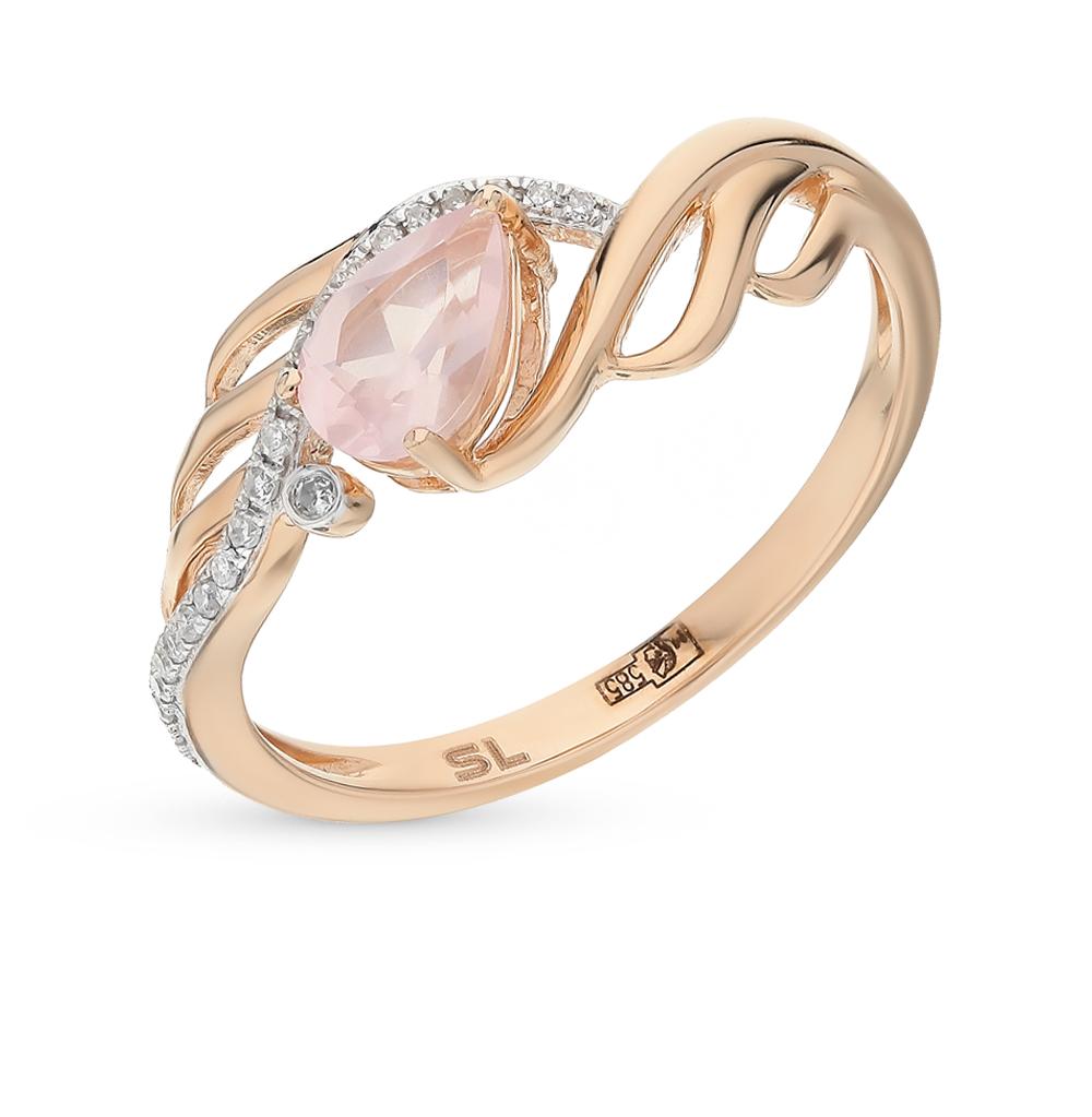 золотое кольцо с кварцем и бриллиантами