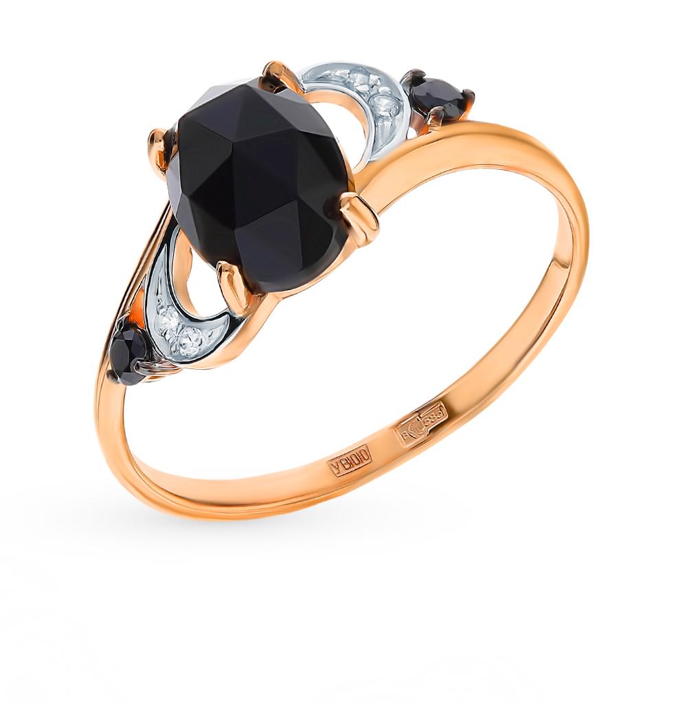 золотое кольцо с фианитами и агатом SOKOLOV 715238*