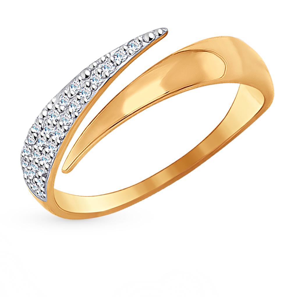 золотое кольцо с фианитами SOKOLOV 017046*