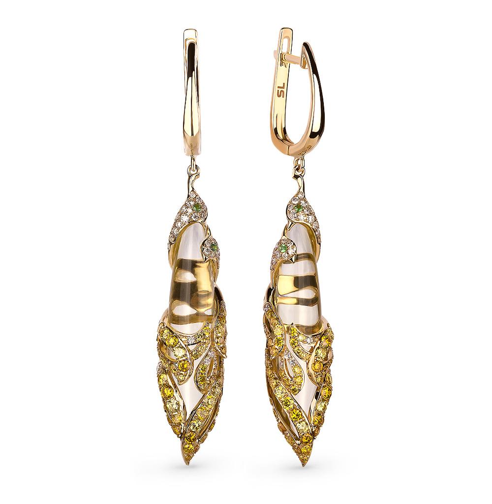 Фото «Золотые серьги с кварцем, цаворитами и бриллиантами»