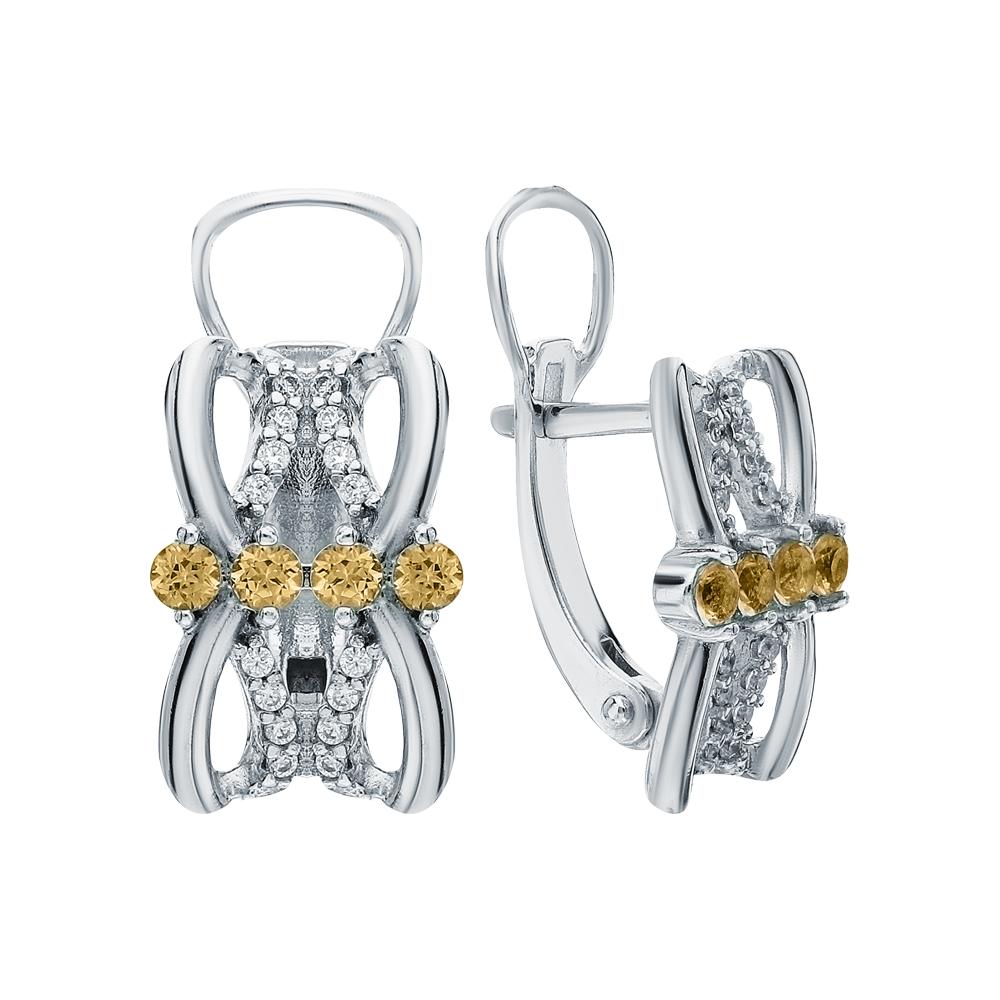 Фото «Серебряные серьги с фианитами и цитринами»
