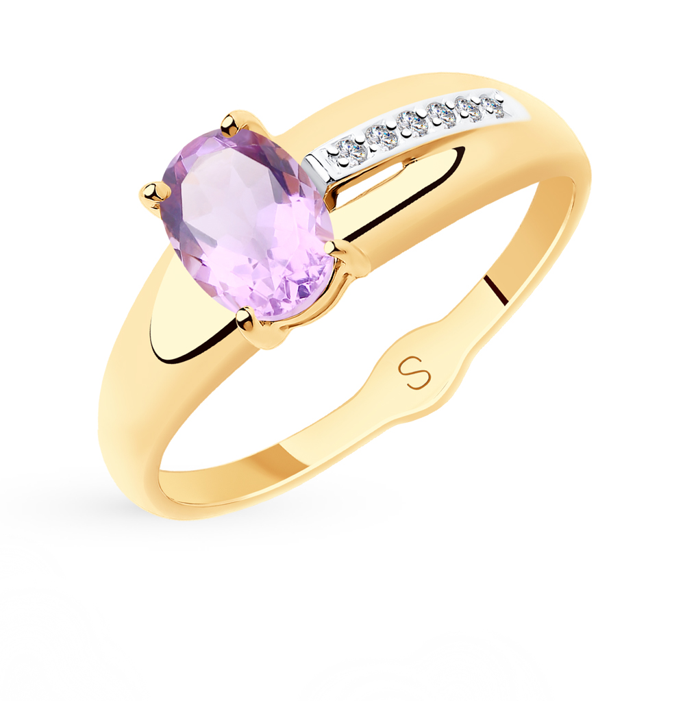 золотое кольцо с аметистом и фианитами SOKOLOV 715587*