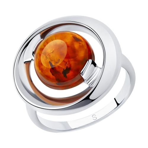 Серебряное кольцо с янтарем SOKOLOV 83010056 в Екатеринбурге