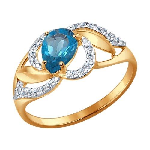 Золотое кольцо с топазами и фианитами SOKOLOV 714458* в Екатеринбурге