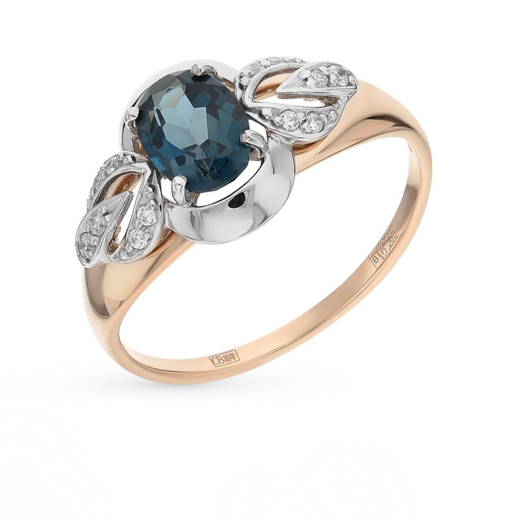 золотое кольцо с топазами и фианитами SOKOLOV 714572*