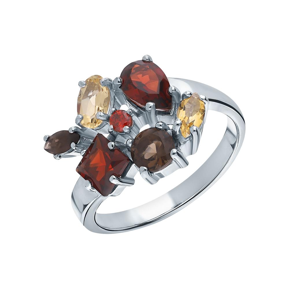 Фото «Серебряное кольцо с раухтопазами, фианитами, гранатом и цитринами»