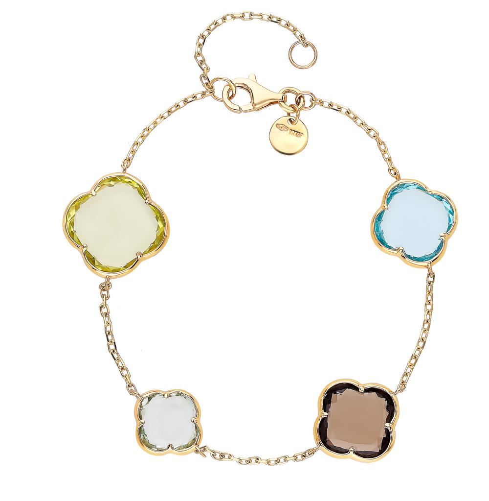 Фото «Золотой браслет с раухтопазами, аметистом, кварцем и топазами»