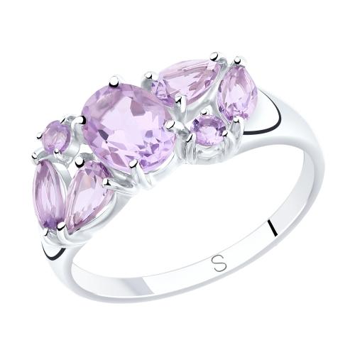 Фото «Серебряное кольцо с аметистом SOKOLOV 92011807»