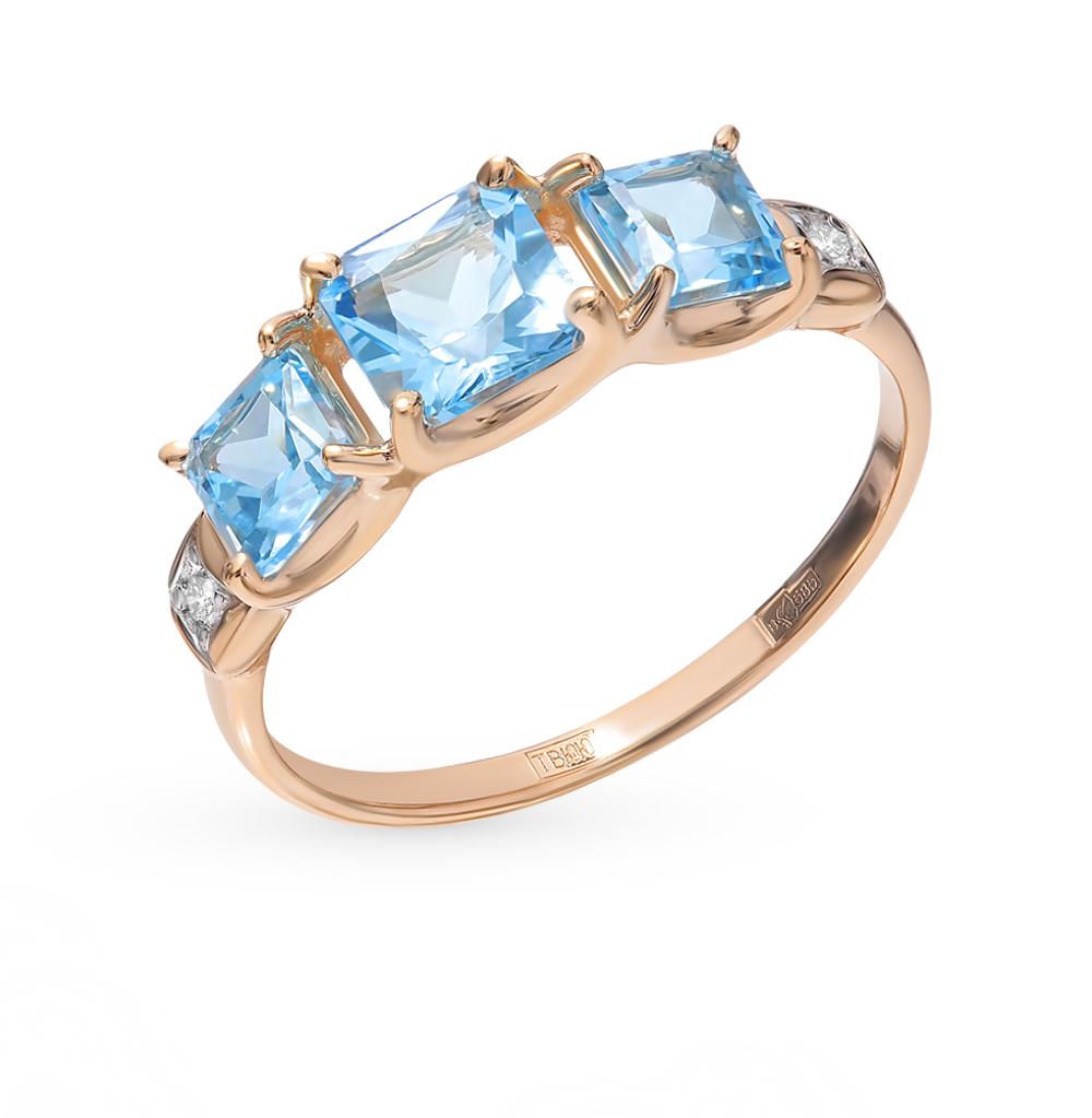 золотое кольцо с топазами и фианитами SOKOLOV 715024*