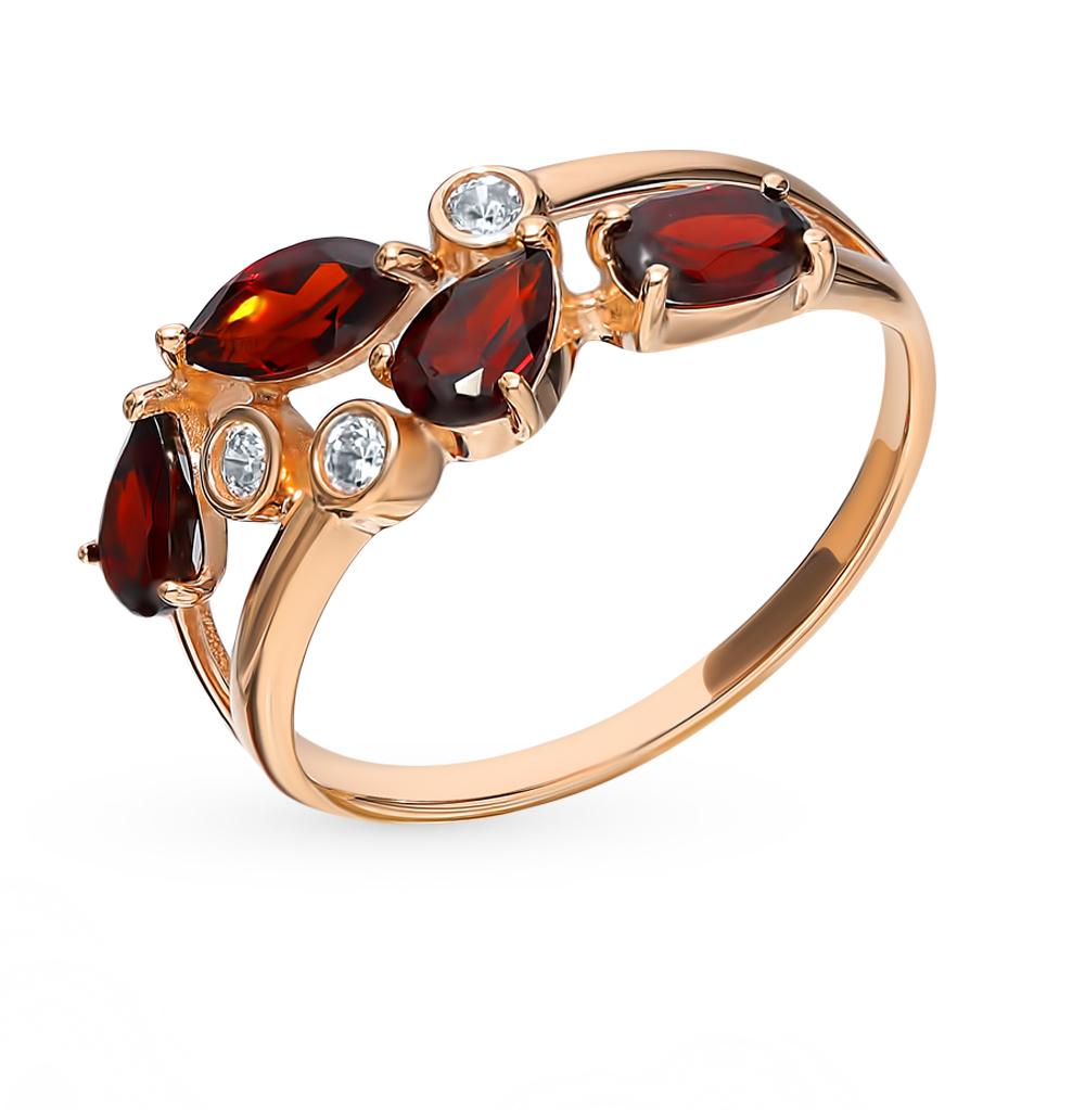 Фото «Золотое кольцо с фианитами и гранатом SOKOLOV 715450*»