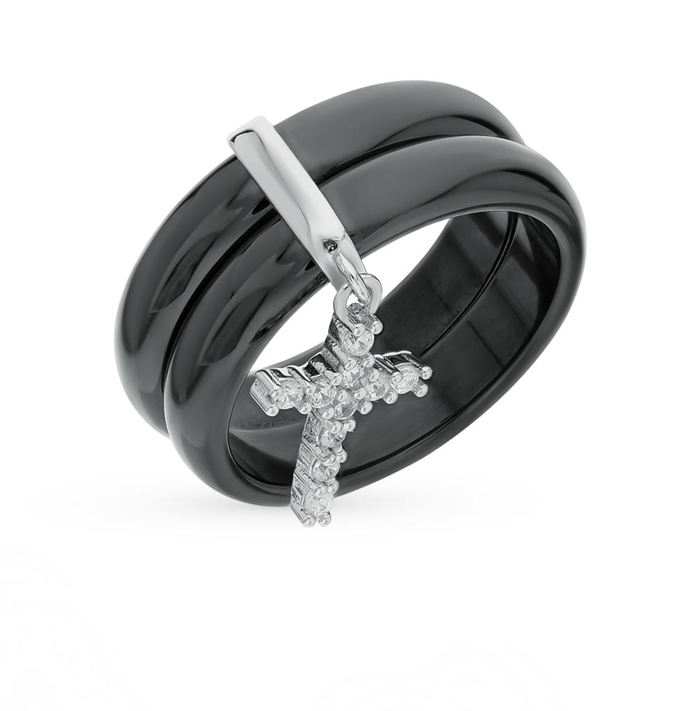 керамическое кольцо с фианитами