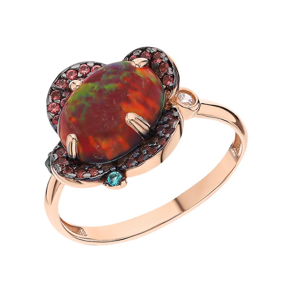 Фото «Серебряное кольцо с турмалинами, нанокристаллами, фианитами и опалами синтетическими»