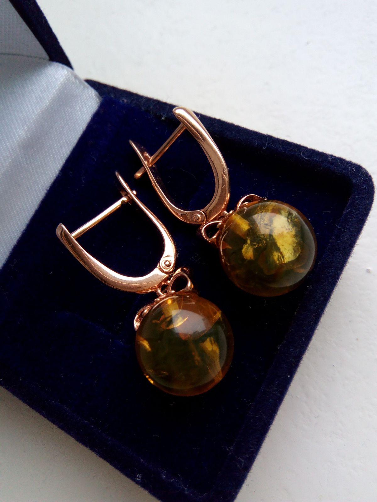 Сережки с янтарём