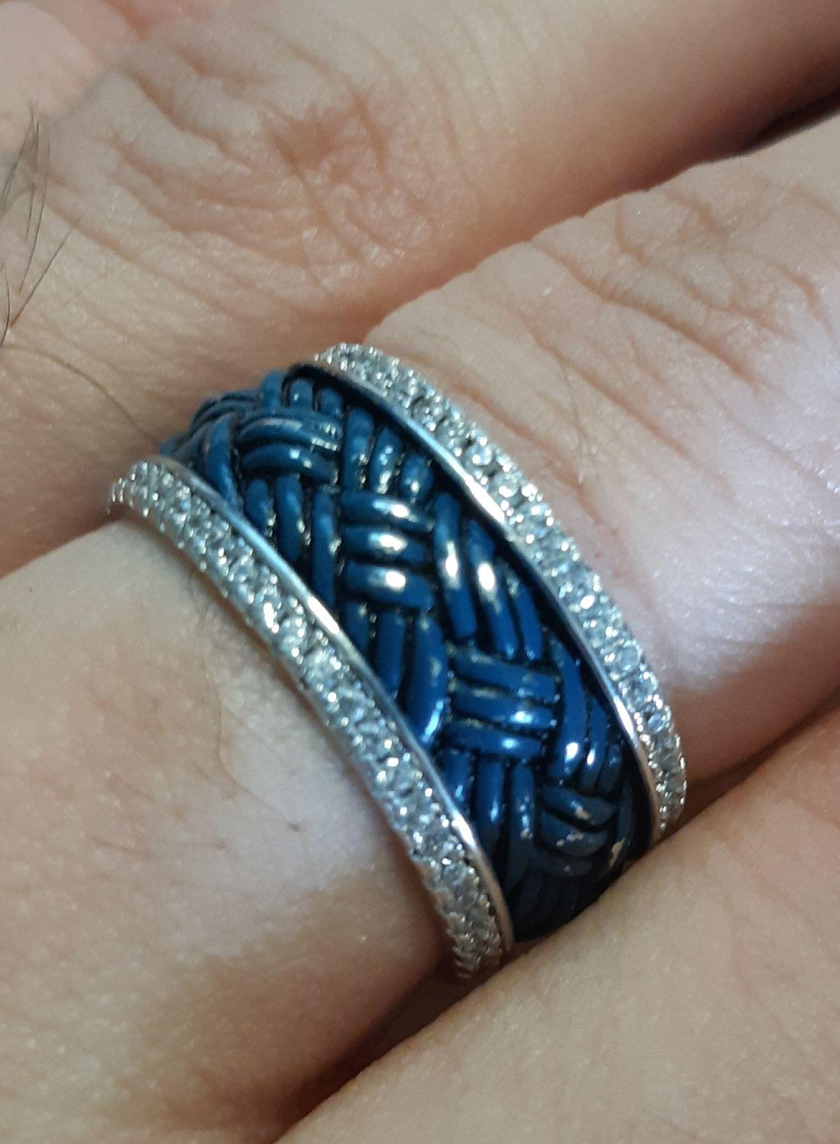 Серебрянное кольцо с синей эмалью и феонитами