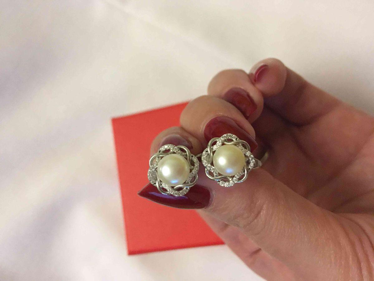 Серебрянные серьги с жемчугом