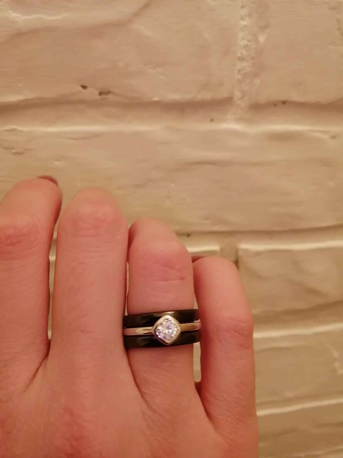 Кольцо серебро + керамика