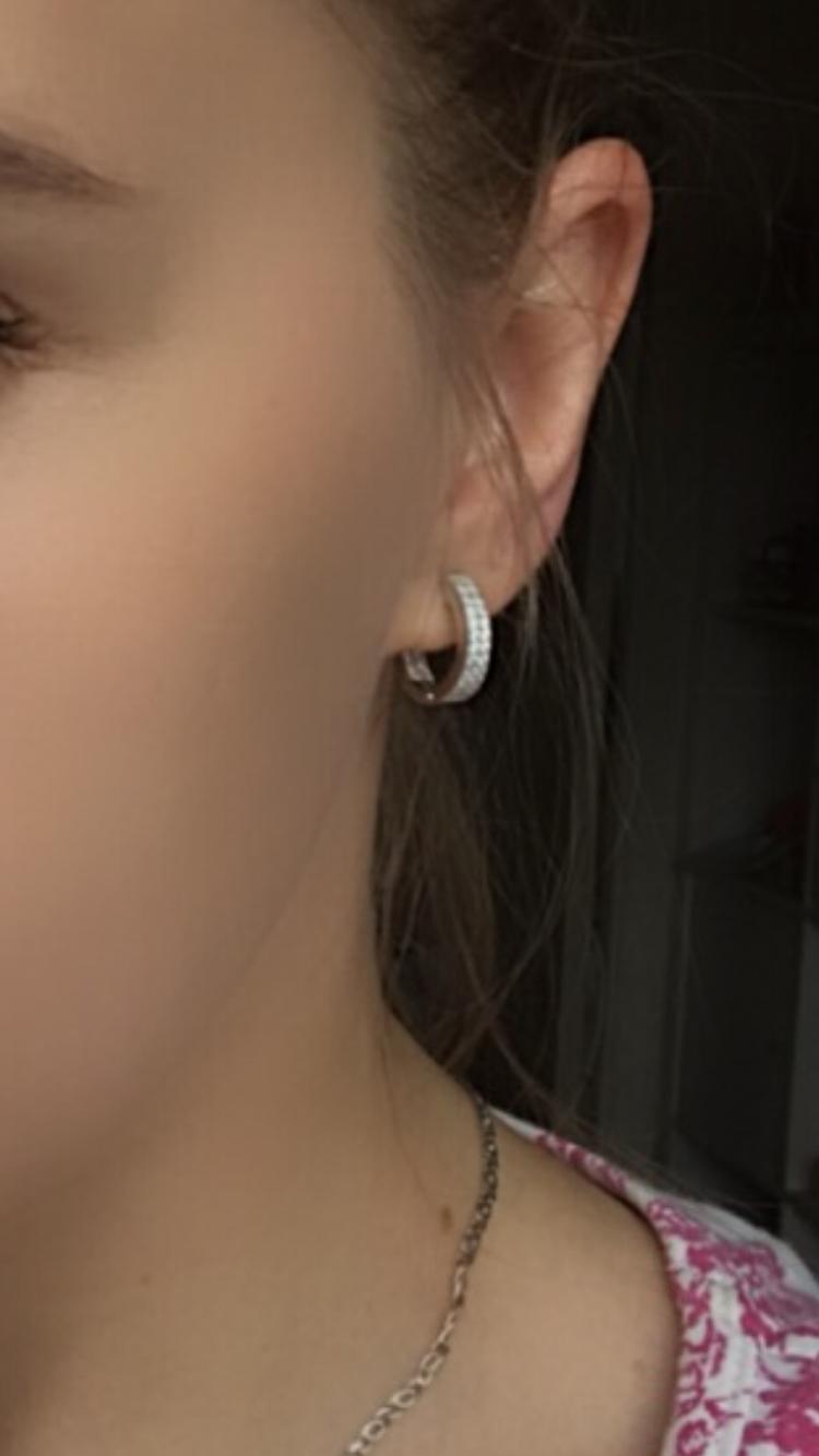 Серебрянные сережки, кольцами