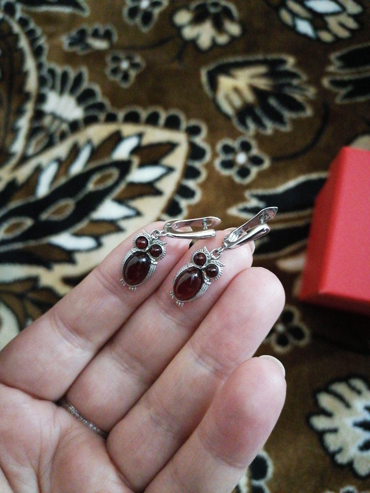 Серебряные серьги с янтарем Совушки
