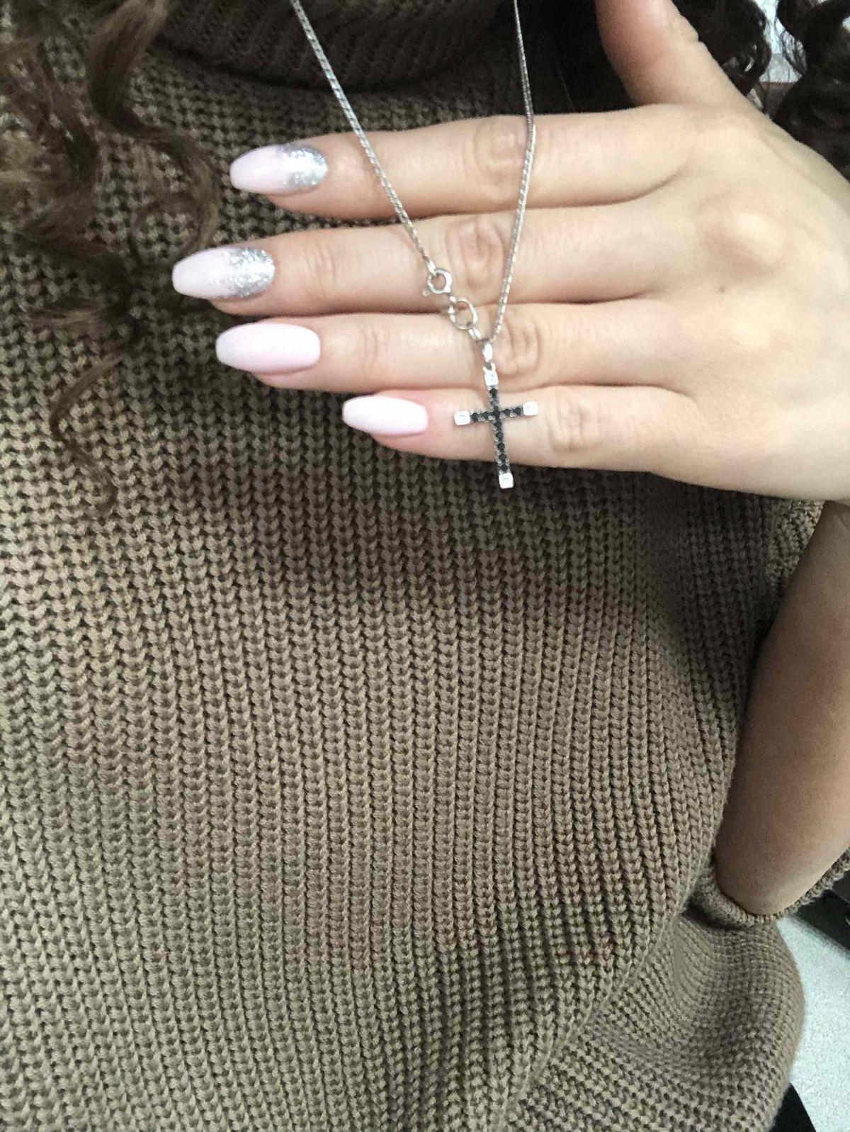 Крест с бриллиантами на цепочке