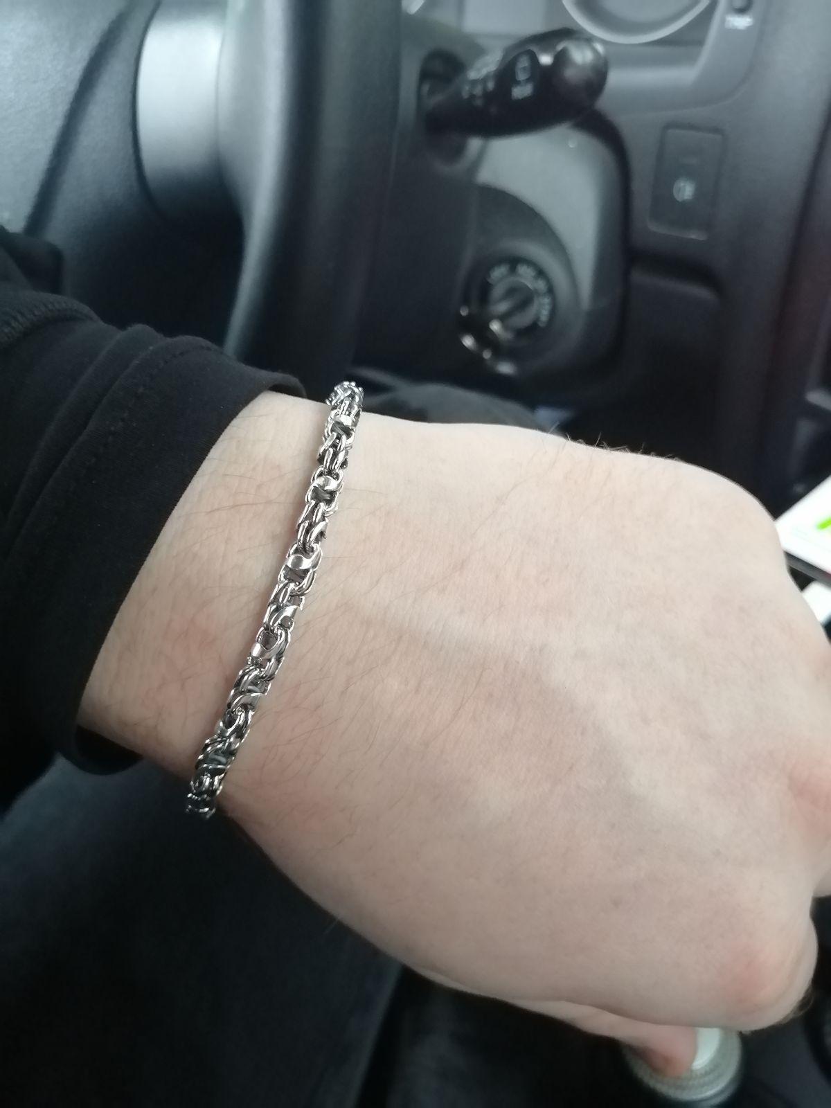 Стильный серебряный мужской  браслет