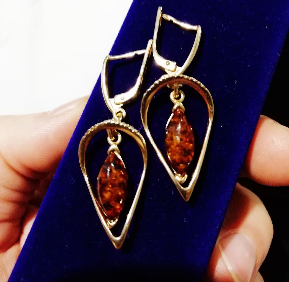 Серьги - позолота и янтарь.