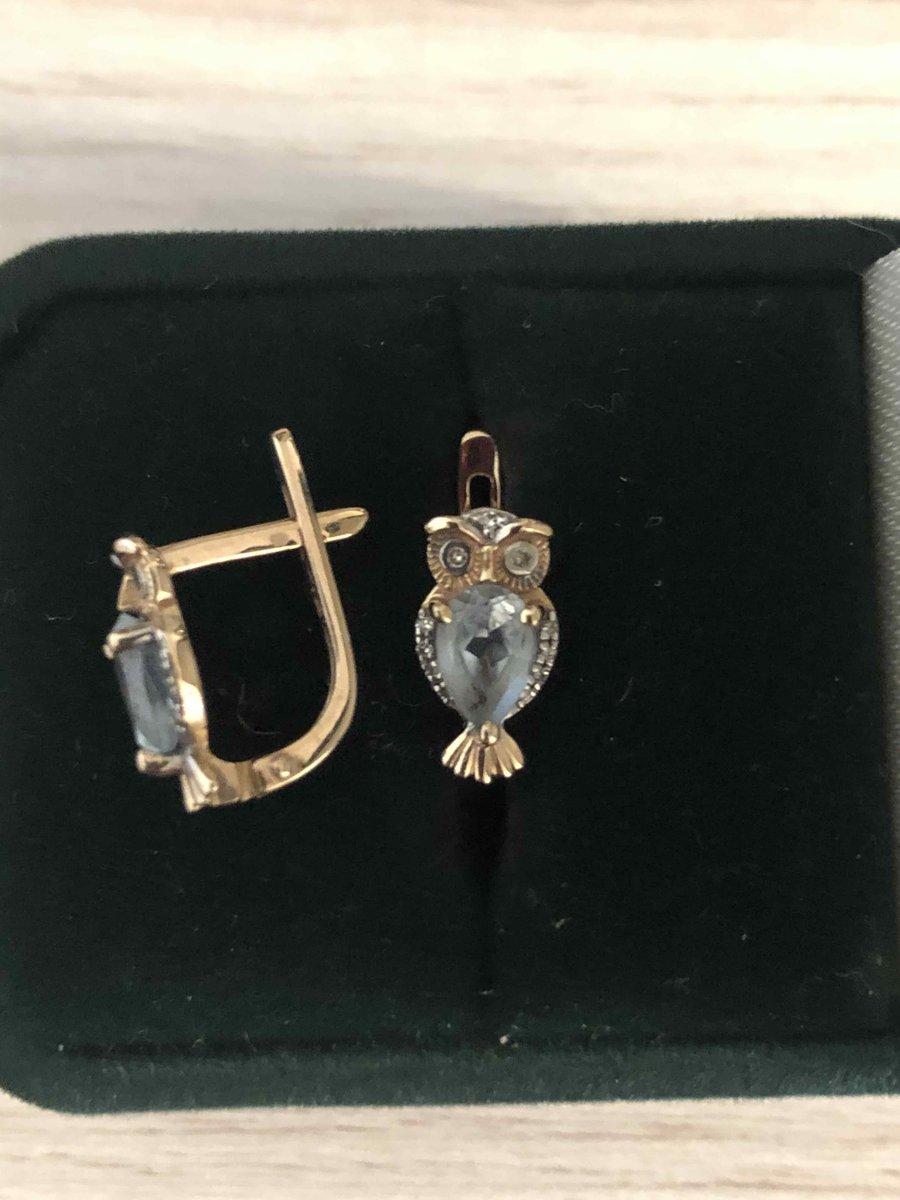 Золотые серьги совушки с топазами и бриллиантами