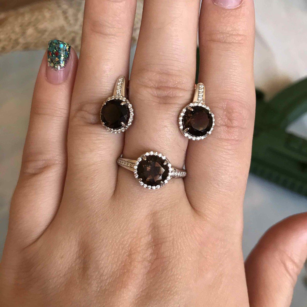Комлект кольцо + серьги с раухтопазом