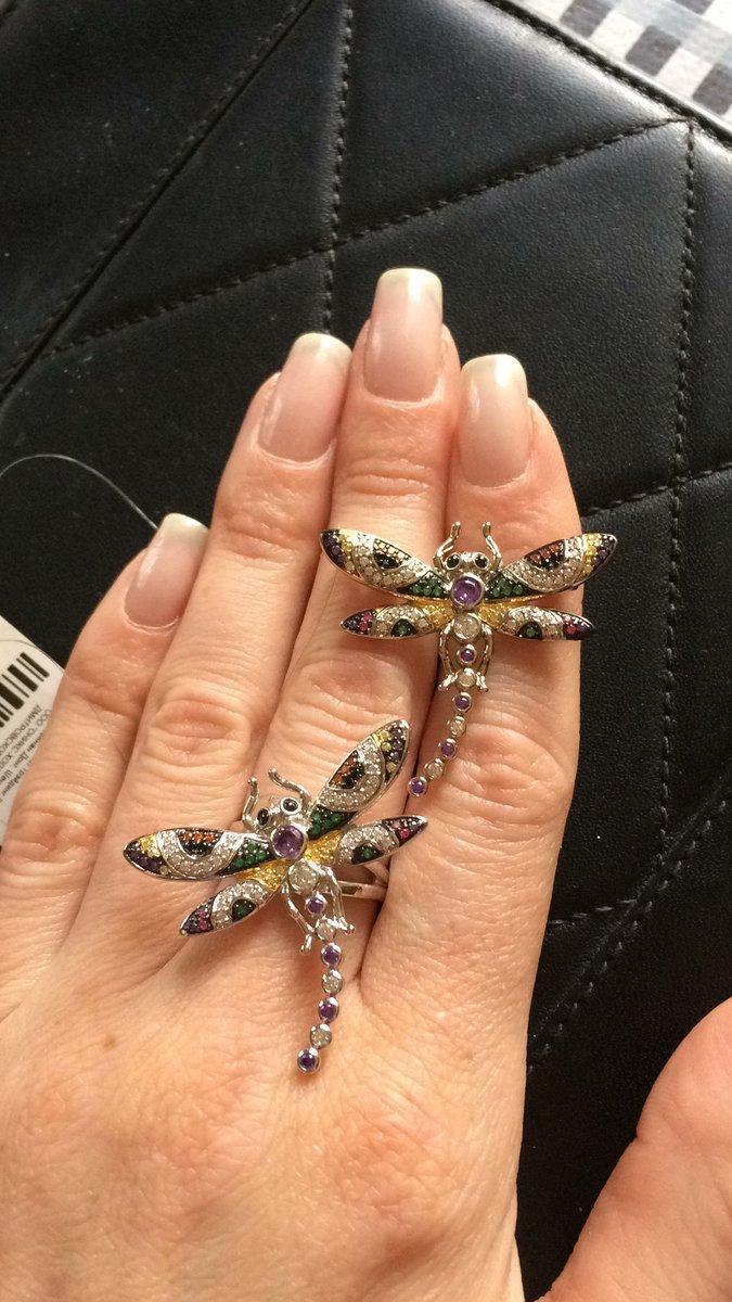 Серебряное кольцо со стрекозой.