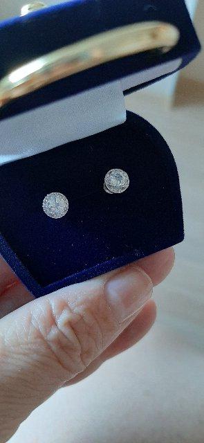 Серьги-пусеты с топазом и бриллиантами