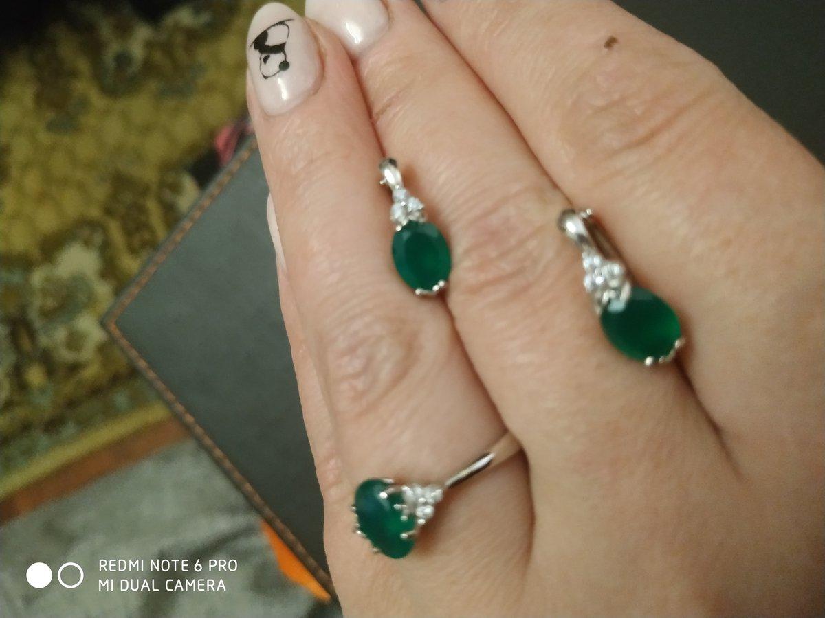 Изящное колечко с зелёным агатом