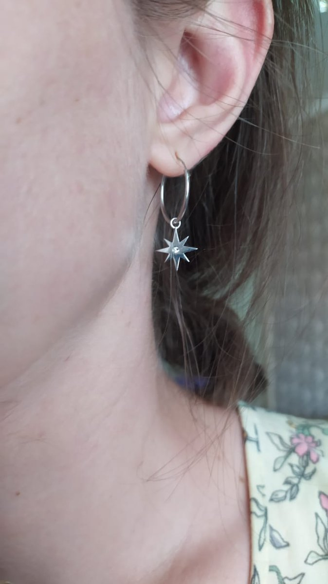 Сережки из серебра месяц и звезда