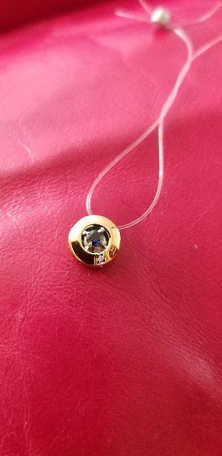 Золотая подвеска с сапфиром и бриллиантом от производителя аквамарин